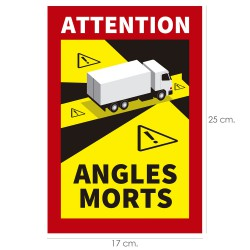 Rotulo / Pegatina Adhesivo Angulo Muerto Camion 25x17 cm. pegatina Angulo Muerto Francia Obligatoria
