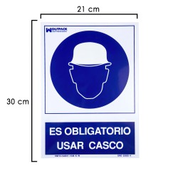 Cartel Obligatorio Usar Casco 30x21 cm.